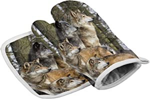Chic Decor Home Set of Oven Mitt and Pot Holder, Wolf Family in Forest Oven Gloves Heat Resistance Non-Slip Surface for Kitchen BBQ Cooking Baking Grilling, Wildlife