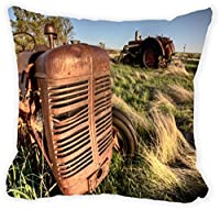 """Rikki Knight®Antique Farm Tractor Close-up Microfiber Throw Décor Pillow Cushion 16"""" Square (Insert Included)"""