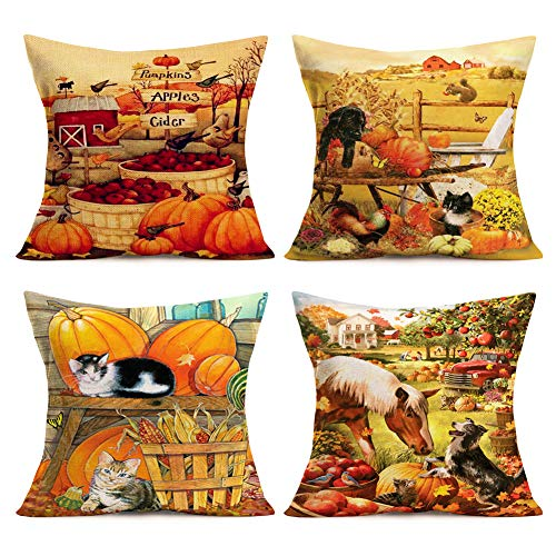 (Vintage Farmhouse Animal Pillow Covers Country Animal Farm Rooster Dog Cat Bird Decorative Cotton Linen Pumpkin Throw Pillow Case Cushion Cover 18