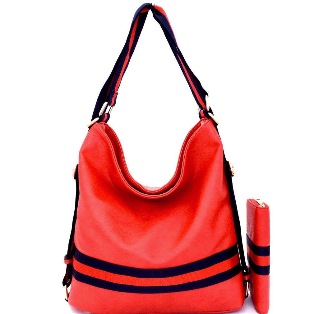 Handbag Republic Multi Stripe, Versatile Hobo Backpack + Wallet Red