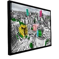ArtWall Revolver Ocelot 'Tokyo Skyline' Floater Framed Gallery-Wrapped Canvas Art, 18 by 24-Inch