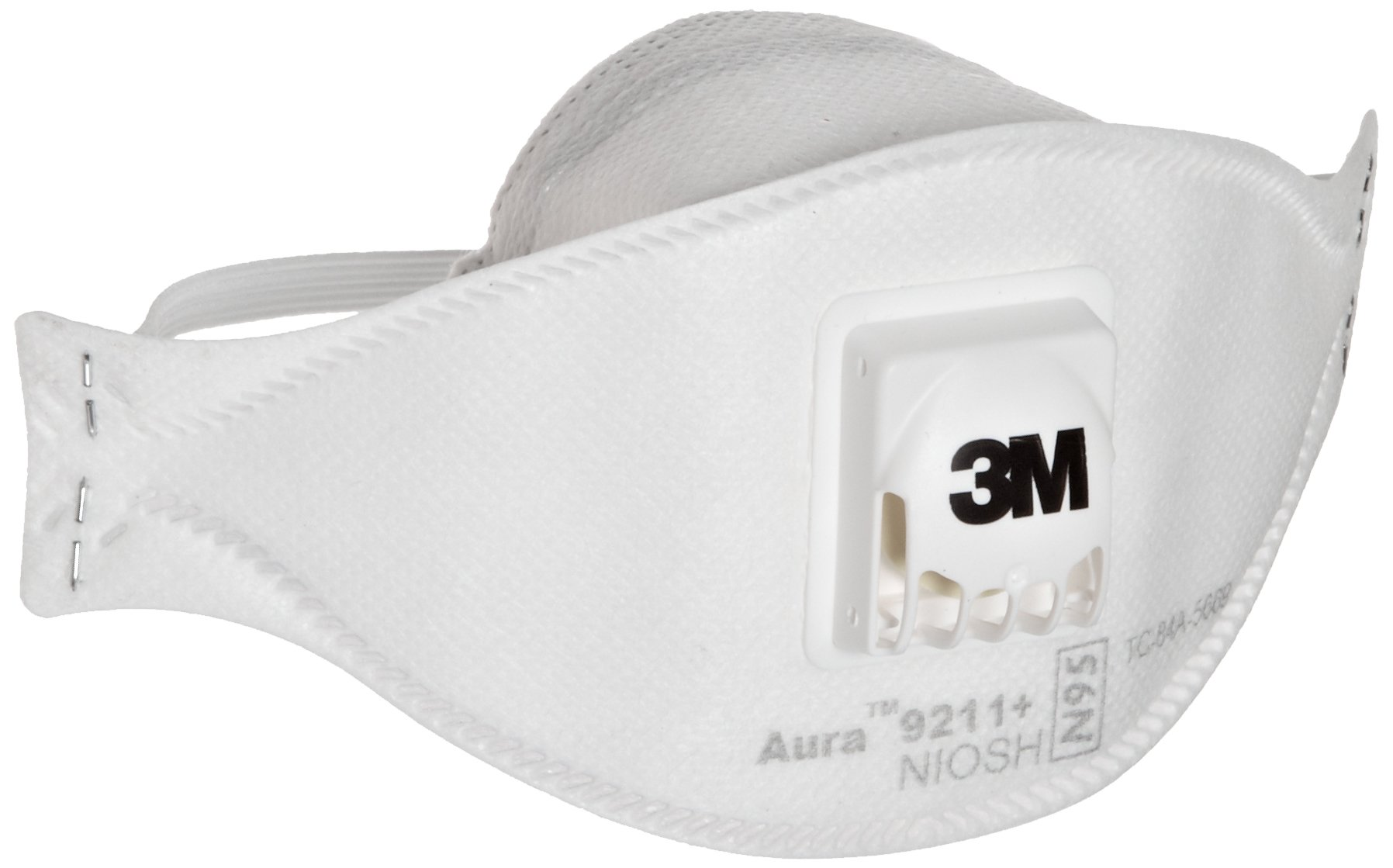 3M Aura Particulate Respirator 9211+/37193(AAD) N95, Stapled Flat Fold Disposable, Exhalation Valve (Case of 10)