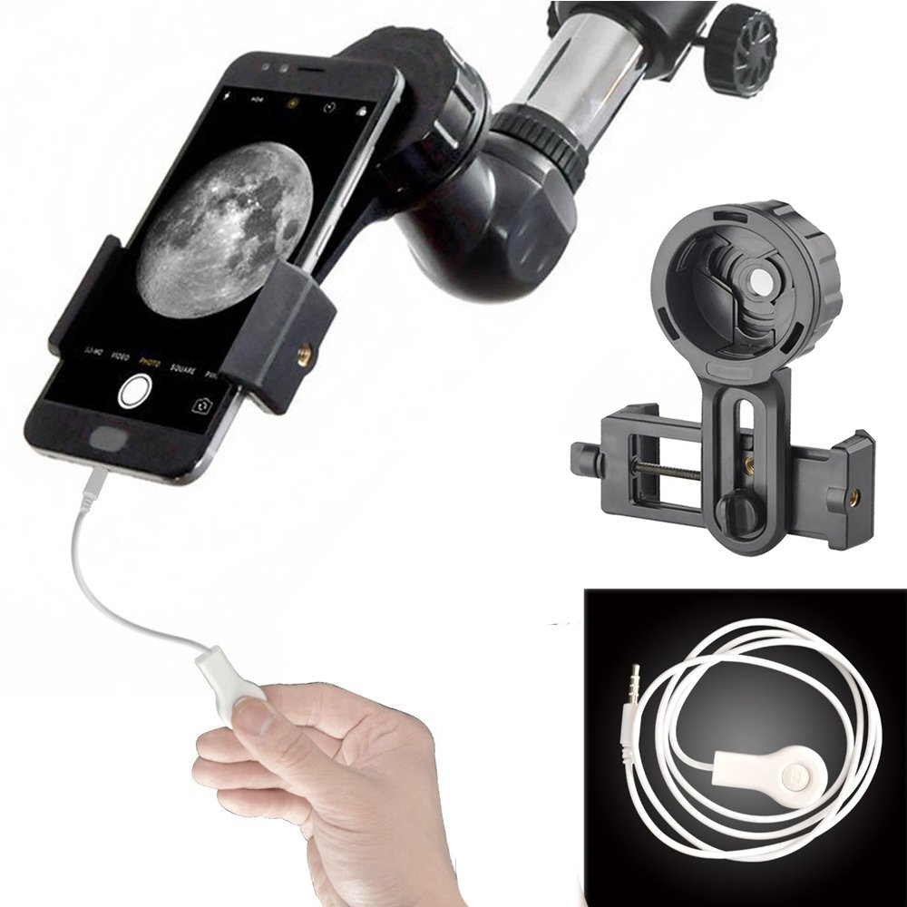 Gosky Telescope Phone Holder - Universal Quick Aligned Cell Phone Digiscoping Mount - Compatible with Binocular Monocular Spotting Scope and for Phone Sony Samsung Etc (Standard Type + Wire Shutter)