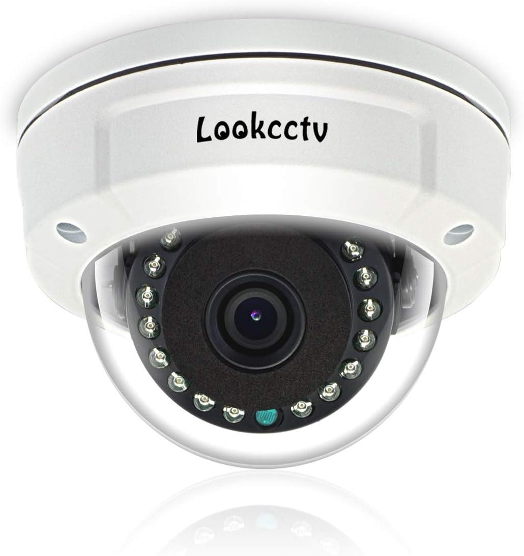 lookcctv Cámara de Seguridad CCTV de 5MP, cámara Domo antivandálica PoE IP de 3.6 mm, Sistema de videovigilancia de visión Nocturna para Interiores y Exteriores, Nube P2P, detección de Movimiento