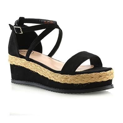 61d558b351a65 Womens Flat Wedge Espadrille Ankle Strap Ladies Platform Summer Sandals  Shoes 3-8 Black