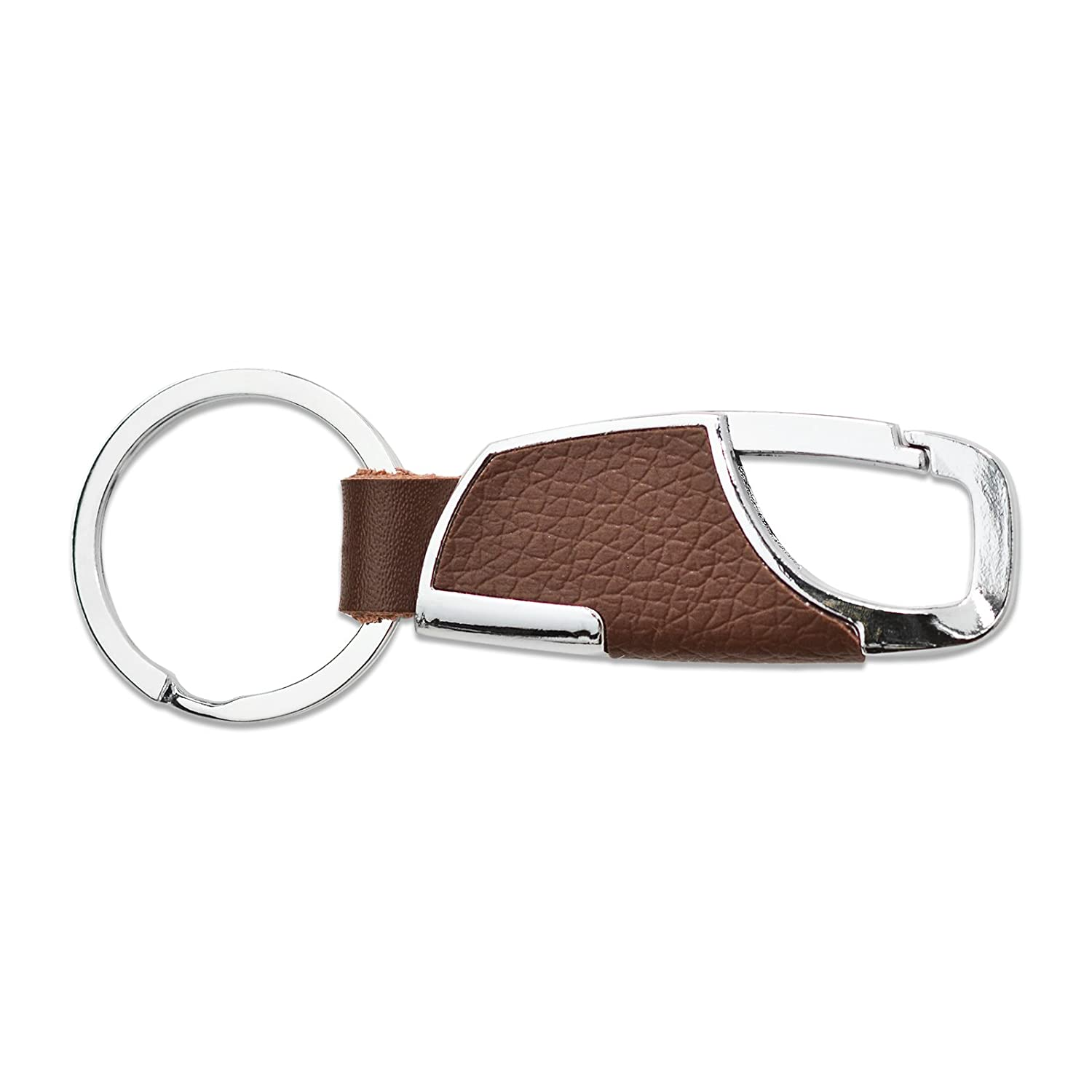 Apexia Tan Leather Stainless Steel Key Chain with Oval Silver Key Ring Clip 3.5 x 1