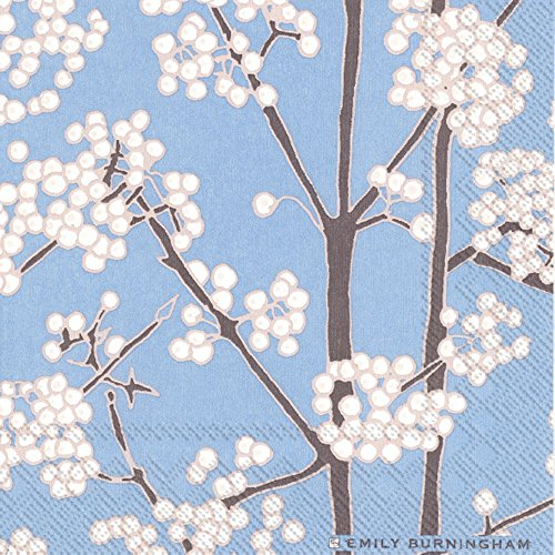 Ideal Home Range 20 Count Cocktail Napkins, White Berries