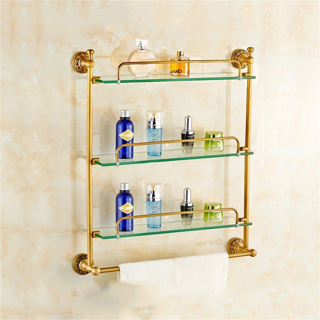 ALUPガラスの棚ドレッシングテーブル模造の古代のバスルームのバスルームシェルフヨーロピアンスタイルの真ちゅう (サイズ さいず : 60*64cm) B07D5DXJJL 60*64cm 60*64cm