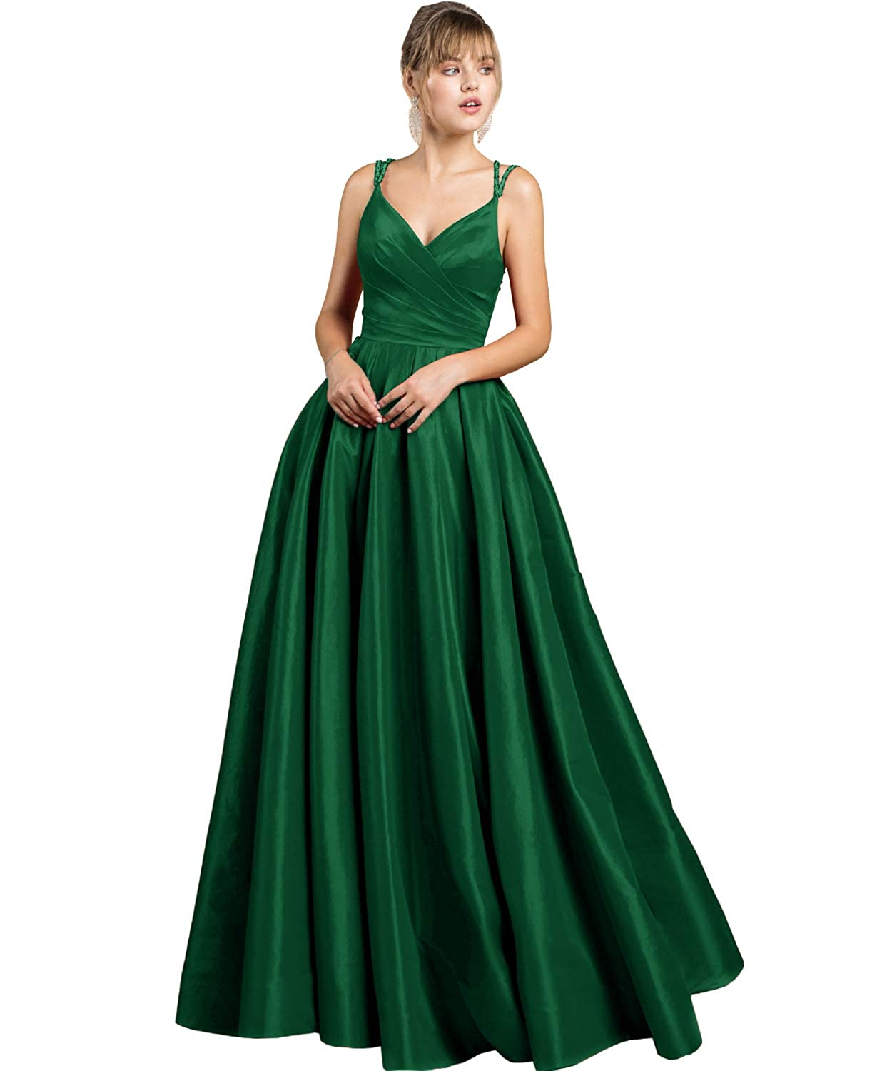Emerald Green Yilis Women's Beaded Spaghetti Straps V Neck Satin Aline Evening Prom Dress Long Formal Gown with Pockets