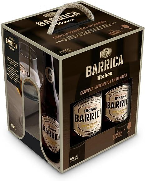 Mahou Barrica con Regalo de una Copa Cerveza Envejecida Edición Original 6.1% Volumen de Alcohol - Estuche de 3 x 33 cl: Amazon.es: Alimentación y bebidas