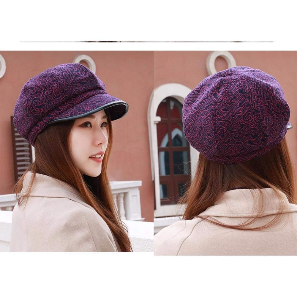 Thundertechs Hat Female Autumn and Winter Outdoor Video face Small Fisherman hat Cap Beret Latticed Octagonal Cap (Color : The Purple, Size : M) by Thundertechs (Image #2)