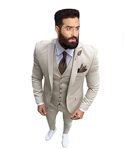 Amazon.com: Traje de 3 piezas para hombre de corte ajustado ...