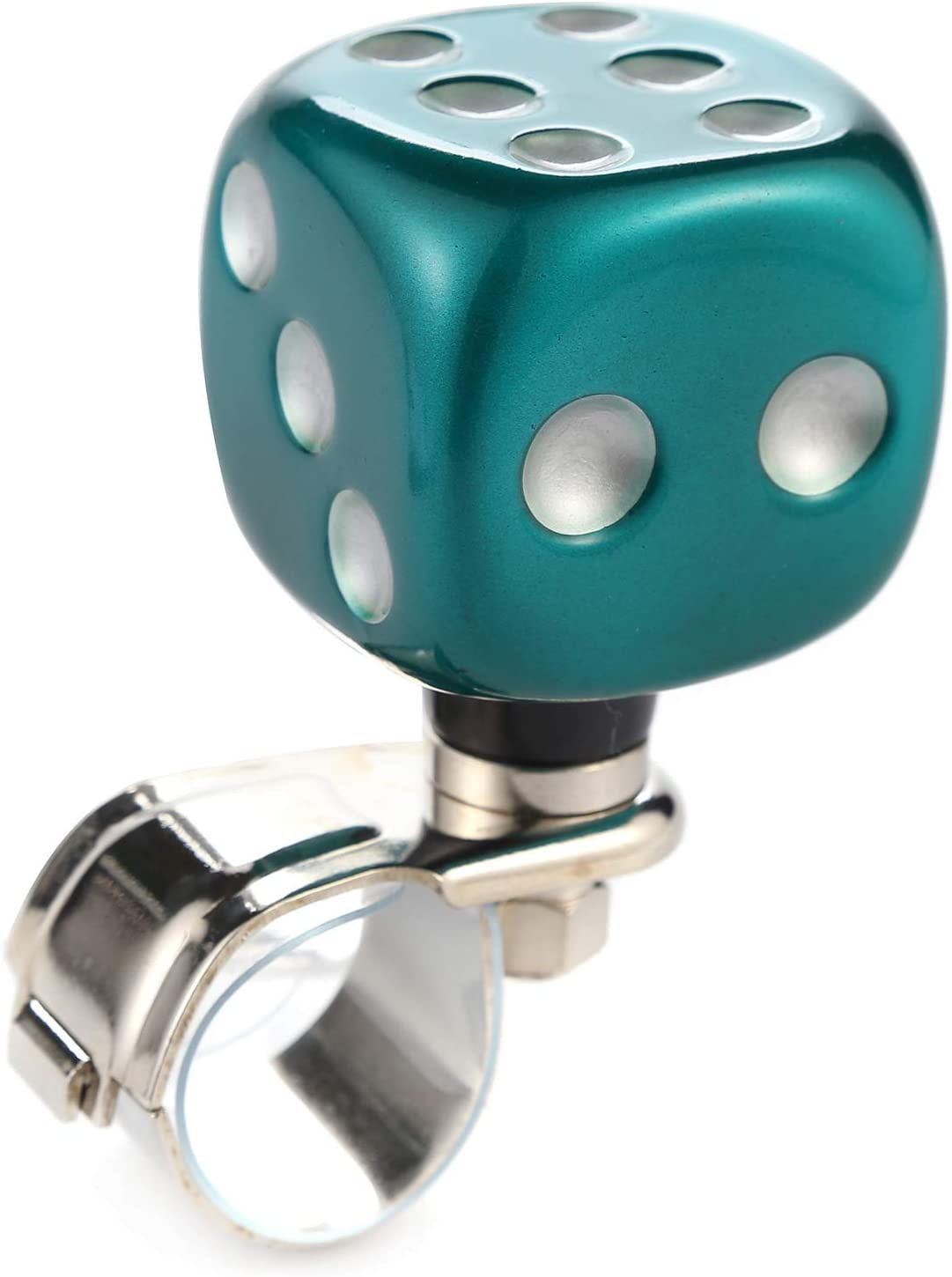 Arenbel Steering Wheel Knob Dice Shape Suicide Spinner Power Handle Wheel Driving Knobs fit Most Universal Car Truck Tractor Boat, Green, White