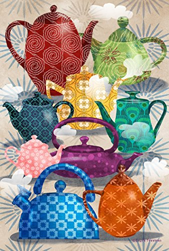 Toland Home Garden Ornate Teapots Decorative USA-Produced Garden Flag, 12.5 by 18""