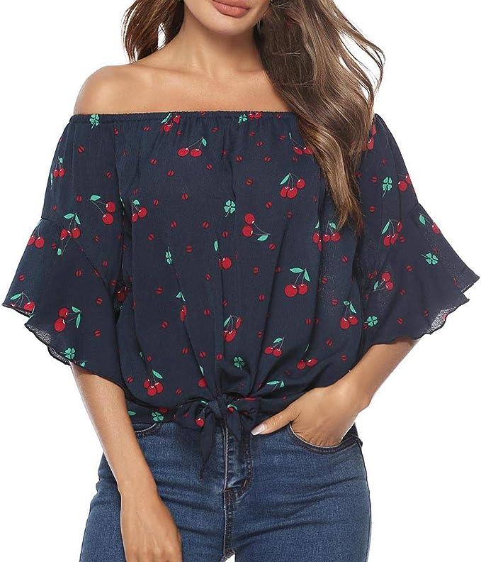LEvifun Blusas para Mujer, Verano Camisas Imprimiendo Mujer del ...