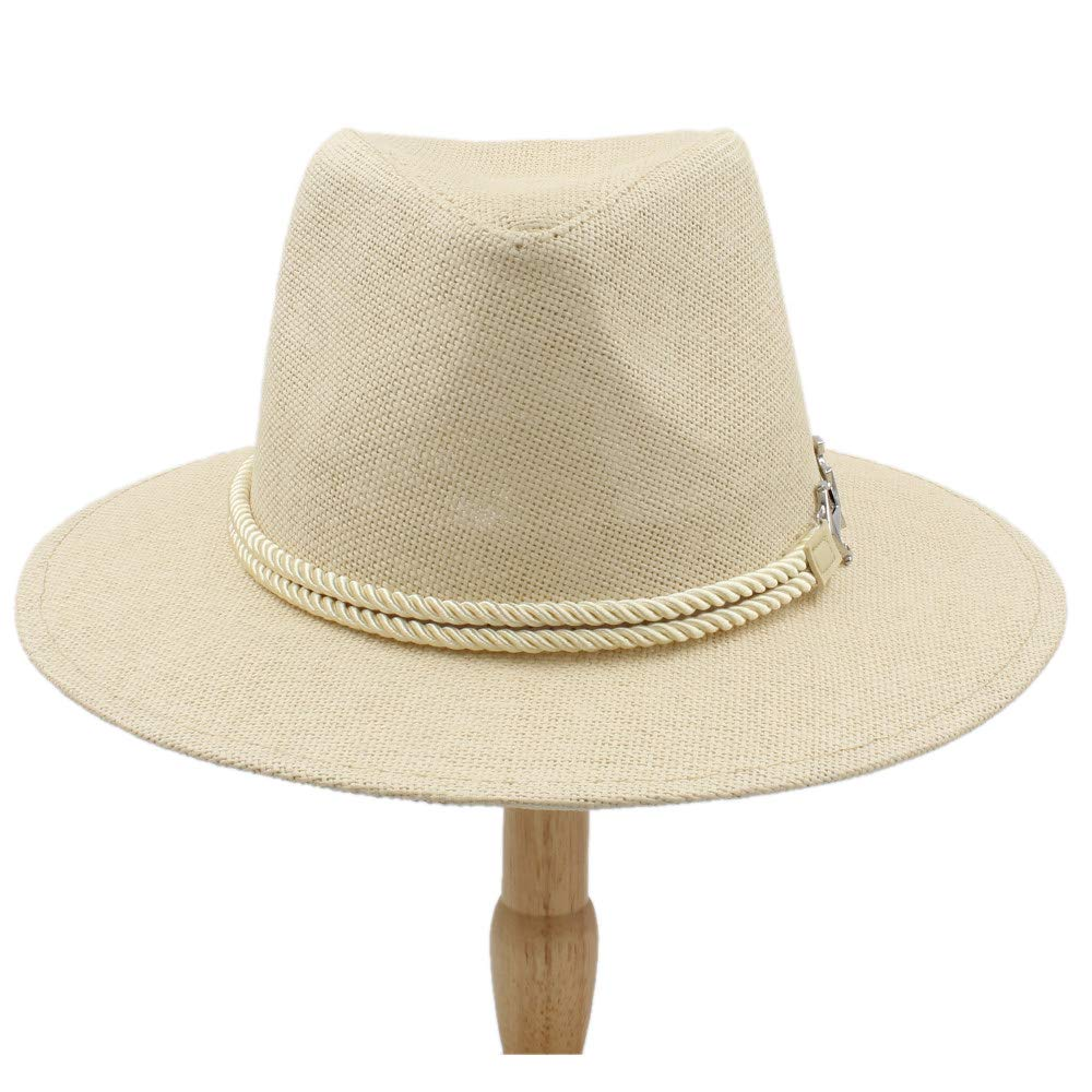 Unisex Casual Fedora Hat Trilby Straw Panama Beach Sun Cap with Fashion Band YWHY (Color : Black, Size : 56-58CM)