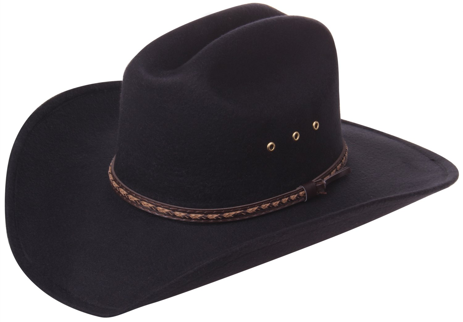 Enimay Western Outback Cowboy Hat Men's Women's Style Felt Canvass Plain Black Large | X-Large