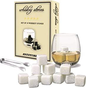 Whiskey Stones Gift Set - 10 Chilling Rock and Tongs - FDA Approved Soapstone for Drink Whiskey Wine
