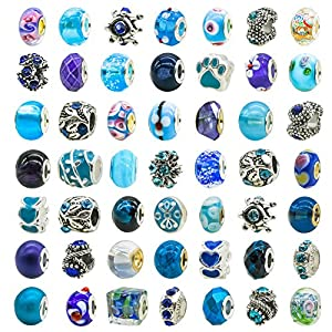 TOAOB 50 Piece Assorted Lampwork Murano Glass Bead Rhinestone Metal European Beads Fit Snake Style Charm Bracelet