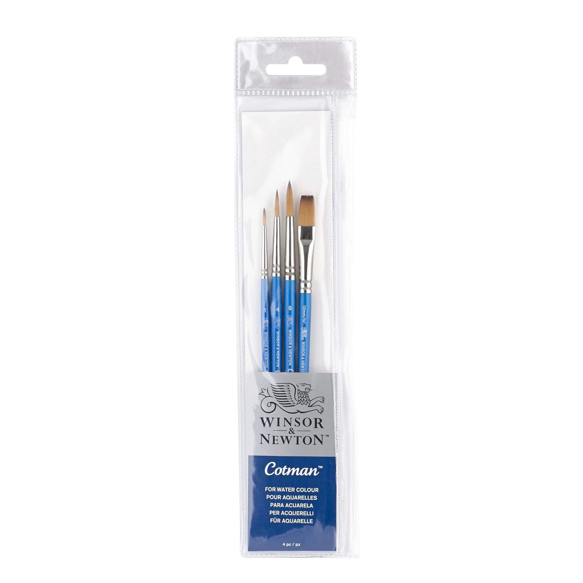 Winsor & Newton Cotman Short Handle Brush (4 Pack) (Round 1, 4, & 6, One Stroke 3/8'') by Winsor & Newton