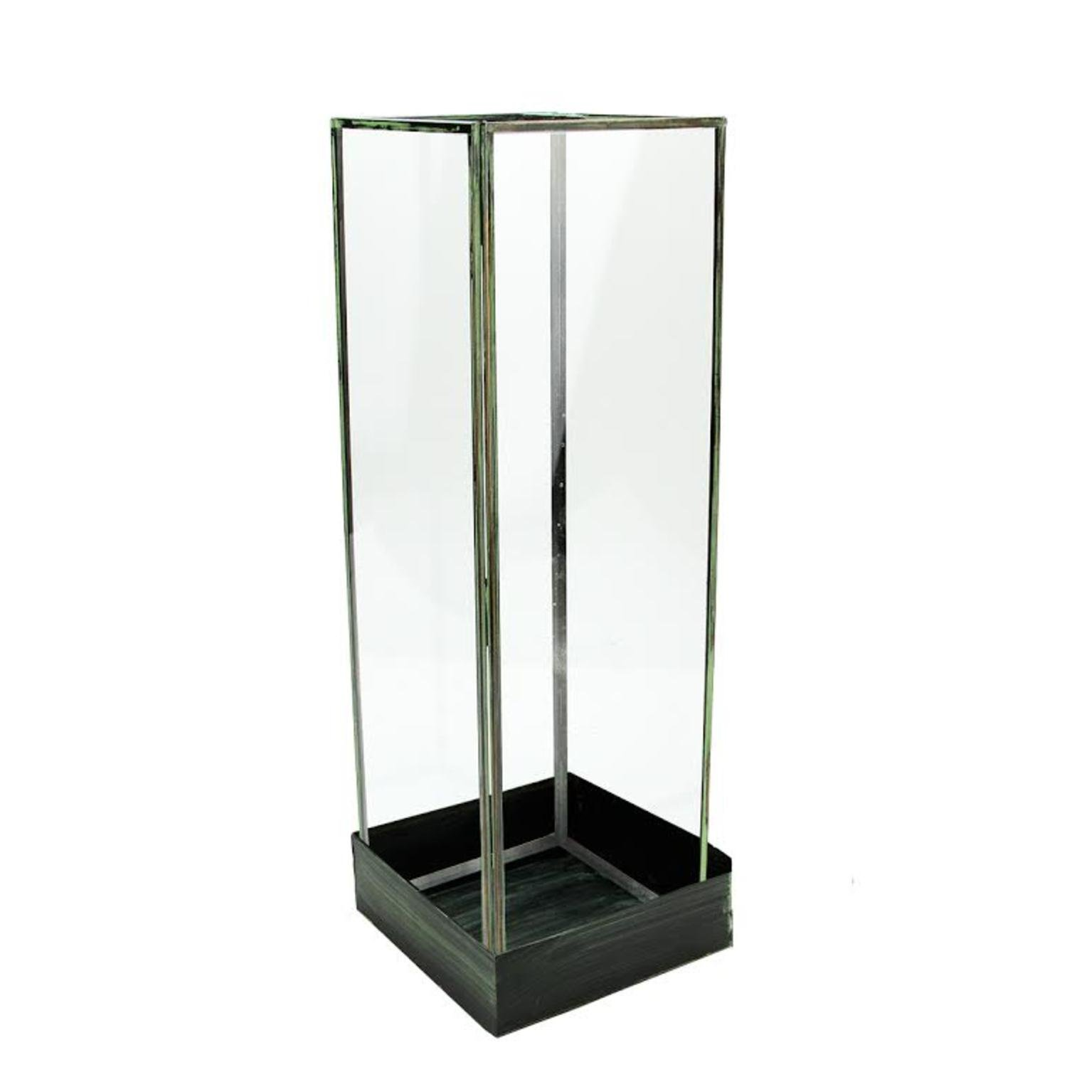 18.25'' Rectangular Table Top Glass Terrarium Tower with Green Metal Base by CC Home Furnishings