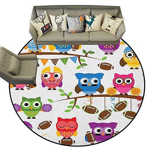 Owls,Kitchen Rugs Sporty Owls Cheerleader League Team Coach Football Themed Animals Cartoon Art Style D66 Round Area Rugs Floor Mat -