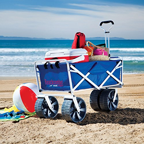 Folding-Beach-Wagon-All-Terrain-Blue-Collapsible-Kart-Foldable-Sports-Dolly-Gear-Storage-Mac-Cart-With-Cooling-Towel