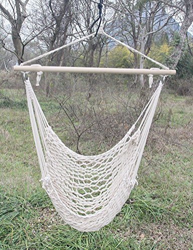 Handmade Mayan Hammock Chair Cotton Rope Outdoor and Indoor Use Hardwood Spreader Bars Heavy Duty Stylish 260 lbs Capacity Woven Swing Hammock Chair