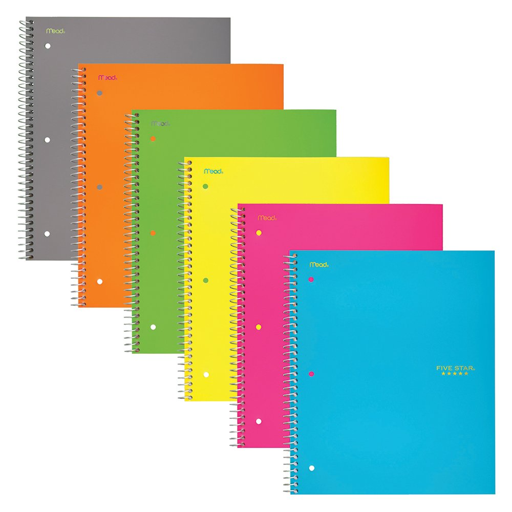 """CDM product Five Star Spiral Notebooks, 1 Subject, Wide Ruled Paper, 100 Sheets, 10-1/2"""" x 8"""", Assorted Colors, 6 Pack (38046) big image"""