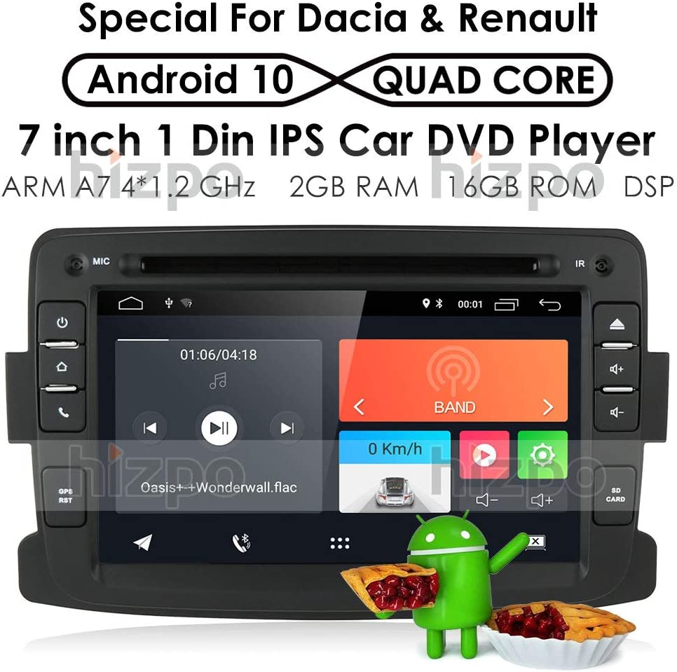 Android 9.0 Quad Core System - Reproductor de DVD para Renault Dokker Dacia Duster Logan Sandero con Autoradio GPS Navegación Radio Estéreo Bluetooth SD USB Espejo Link Pantalla Táctil