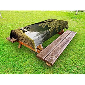 Ambesonne Tree Outdoor Tablecloth, Bench under Timber Tree by Riverside Epic Countryside Rural Relaxing Resting Space Scenery, Decorative Washable Picnic Table Cloth, 58 X 84 Inches, Green
