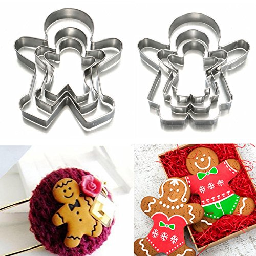 3Pcs Christmas Gingerbread Man Cookie Cutter Stainless Steel Biscuit Mold Buckdirect Worldwide Ltd.