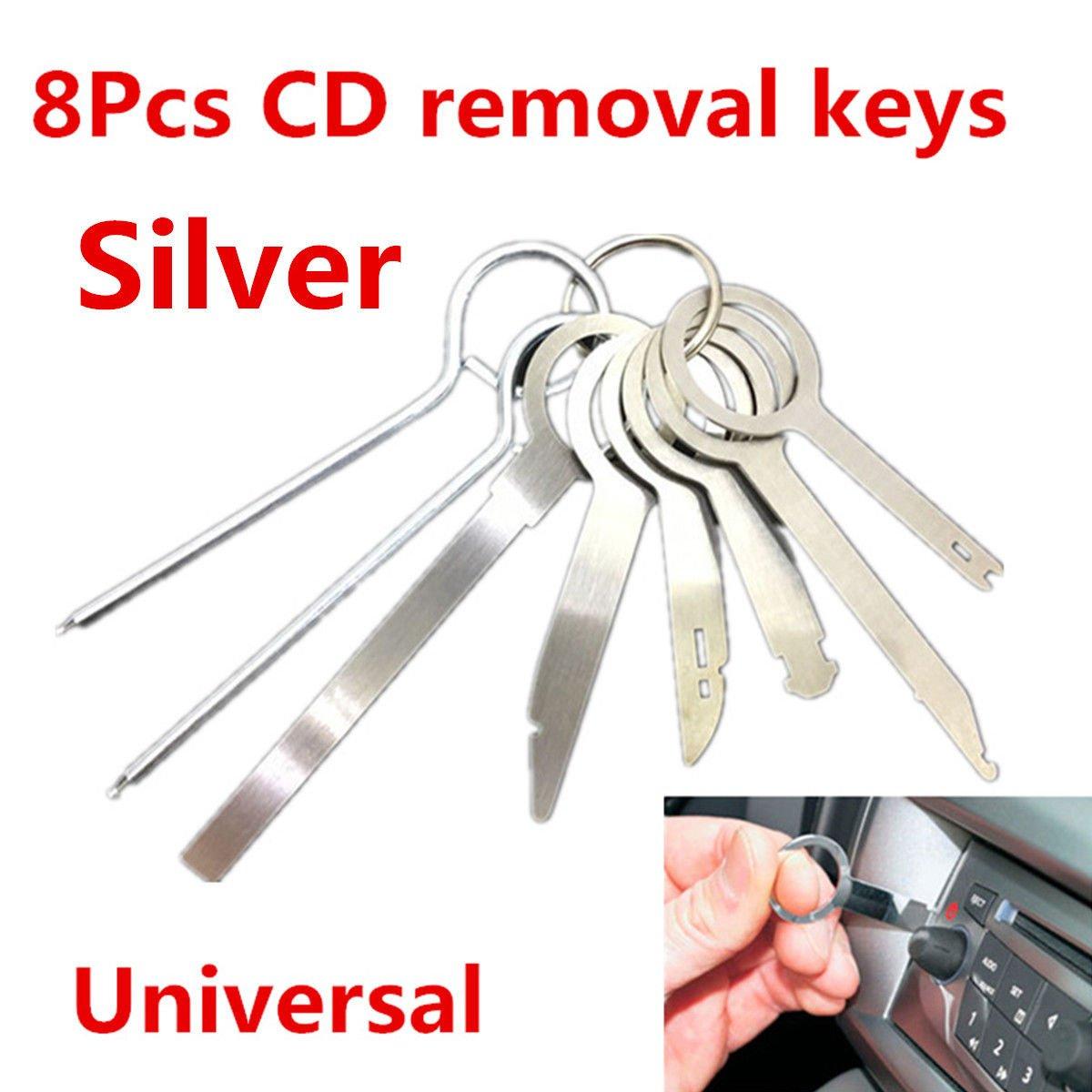 8Pcs Car Stereo CD Radio Head Unit Release Removal Key Tool Set Dash Audio Tools