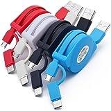 Cable 2-en-1 Micro USB y USB-C, [3.3Ft / 1M, paquete de 4] Cable retráctil Micro USB retráctil y Tipo C Cable de sincronizaci