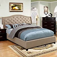 Marisko Contemporary Taupe Queen Size Platform Bed