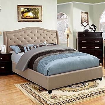 marisko contemporary style taupe finish eastern king size bed frame set - Eastern King Bed Frame