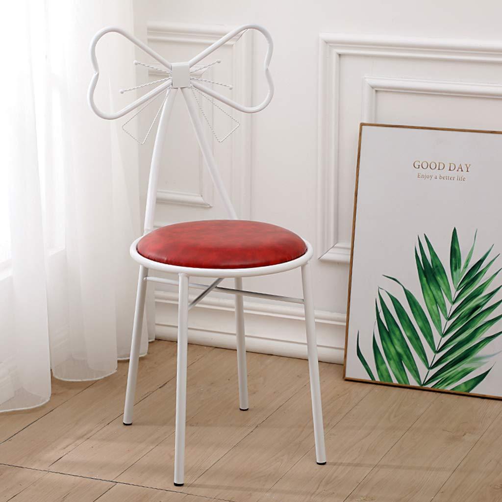 JHSLXD Kreativ fjäril slips makeupstol, sovrum sminkbord sminkpall PU läder/flanell ryggstöd stol matstol metall smidesjärn fritid läsning stol dekoration möbler Vitt Röd