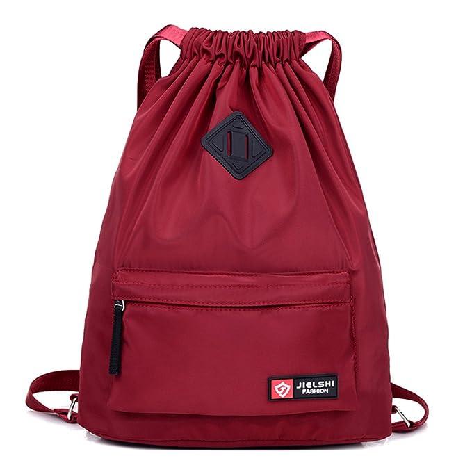 78e8580c56 Dannyrober Waterproof Drawstring Sport Bag Backpack For Men Women Wine Red