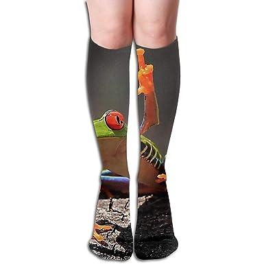 Zcfhike Tube Knee High Socks Frog Middle Finger Mens Over ...