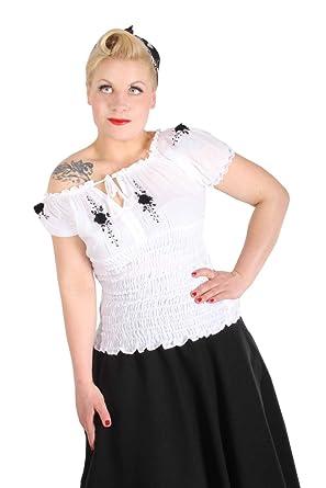 50s Rockabilly pin up Puffärmel Carmen Stretch Blüten TOP weiß
