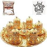 Turkish Greek Arabic Coffee Serving Cup Saucer Gift Set (Gold)
