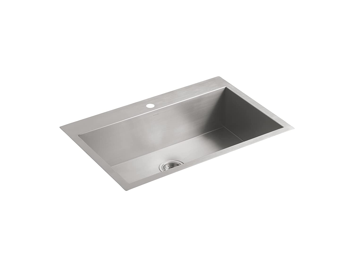 "KOHLER Vault 33"" Single Bowl 18 Gauge Stainless Steel Kitchen Sink with Single Faucet Hole K-3821-1-NA Drop-in or Undermount Installation, 9 inch Bowl"