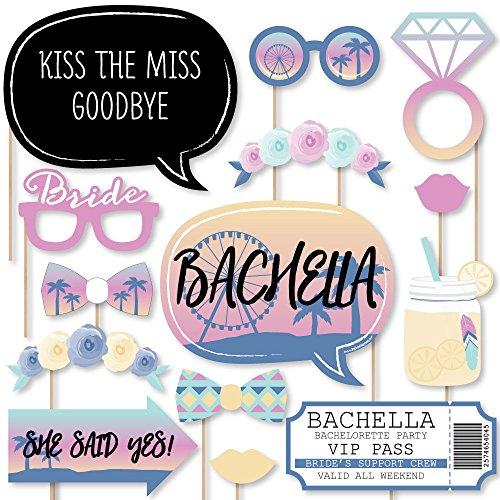Big Dot of Happiness Bachella - Palm Springs Boho Bachelorette Party Photo Booth Props Kit - 20 (Palm Springs Game)