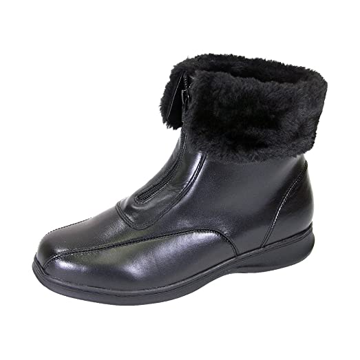 FIC PEERAGE Lana Women Wide Width Leather And Fleece Casual Ankle Boots (Size/Measurement Guide Available