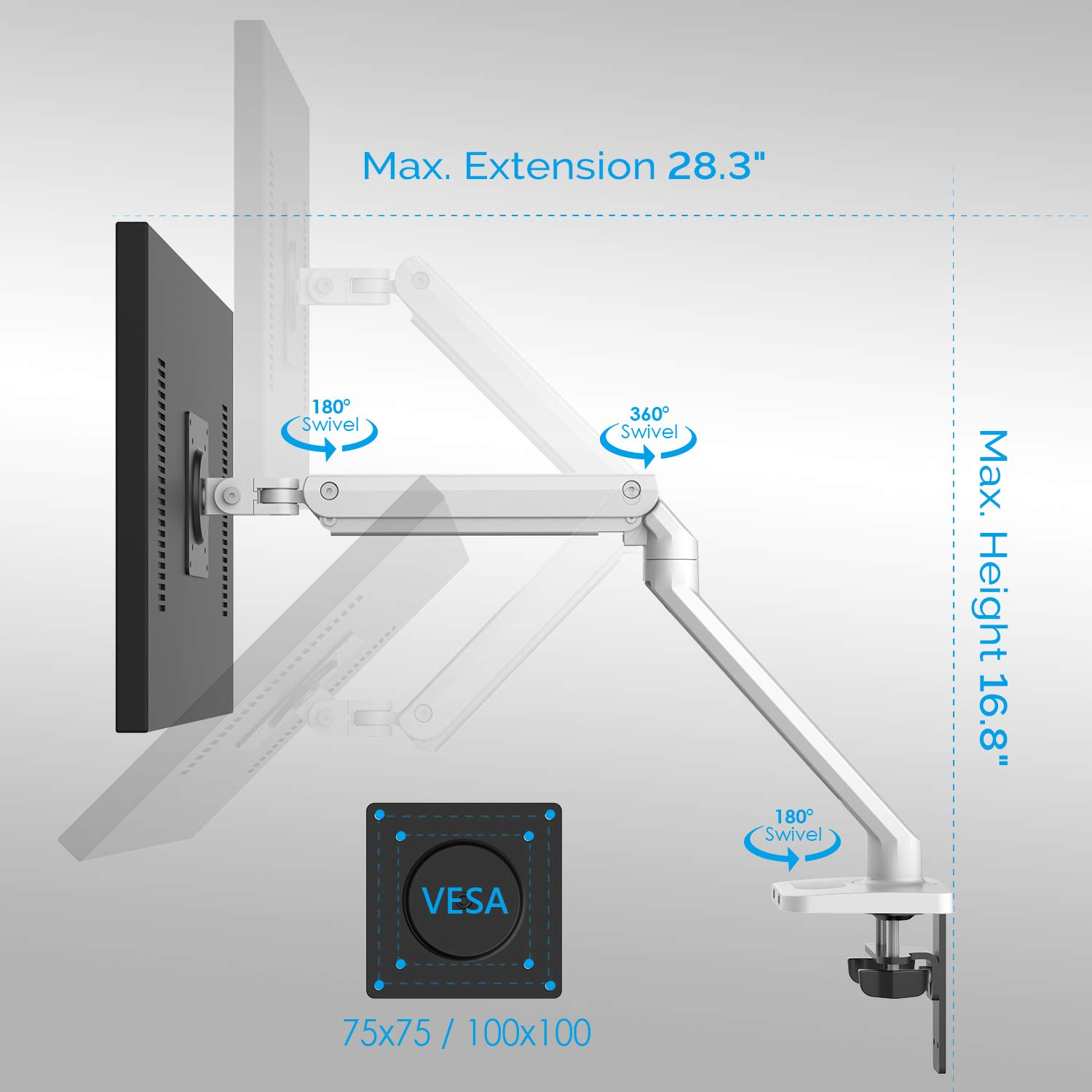 Bemorergo Monitor Mount Stand - Adjustable Single Arm Desk Vesa Mount, Gas Spring Single Monitor Mount, with 2-in-1 Heavy Duty Base, Fits 17 to 32 inch LCD Computer Monitors up to 21lbs, Aluminum