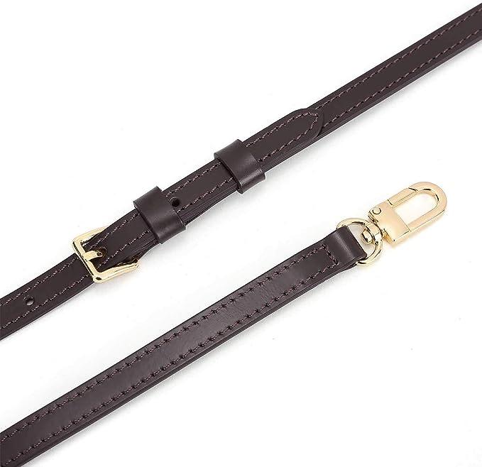 Leather Cross Body Strap for Alma BB Damier Ebene Pochette Eva Favorite PM MM Mini 10mm Coated Dark Brown with Gold Hardware