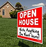 """Quality Assurance""""OPEN HOUSE"""" yard signs made by Signs 'R Us. Designed to help attract more buyers to your property! Trusted by over 30,000 people! Manufactured in the USA by Print Here Houston Great for Renters, Realtors, Real Estate, Private Seller..."""