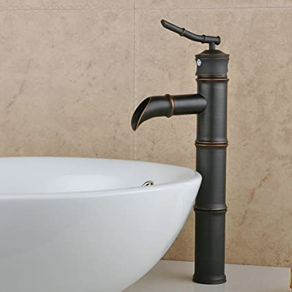 Attrayant YAJO Antique Waterfall Spout Bathroom Vessel Sink Faucet Bamboo Shape  Design, Oil Rubbed Bronze