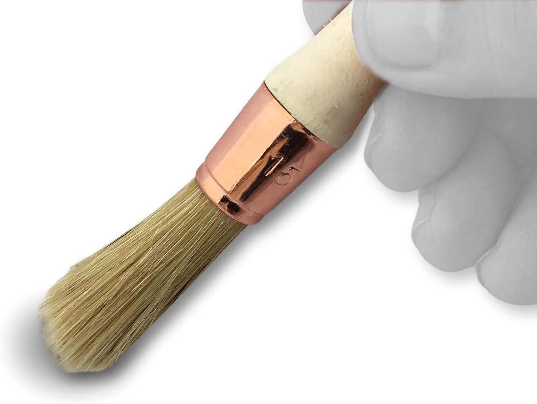 Brosse ronde soie blanche /Ø 21 mm Kibros 370D21/_2 Pinceau de pouce Peinture r/énovation volets moulure plinthe angle persienne