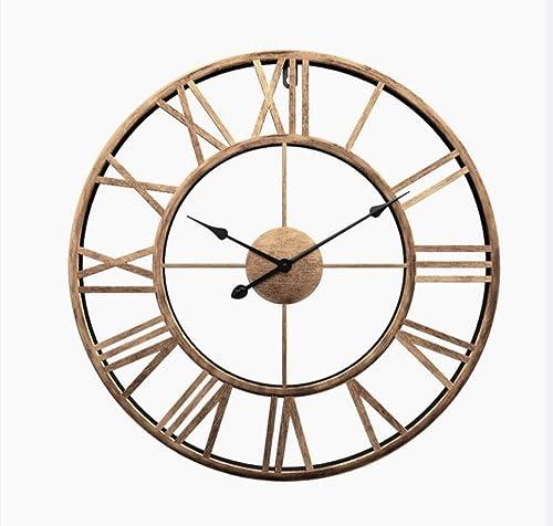 Liinmall Large 3D Retro 20 Wall Clocks Battery Operated Roman Numerals Home Decor Metal Clock